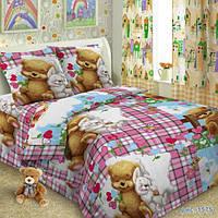 Комплект детского постельного белья  Мишка и Зайчик в детскую кроватку  поплин