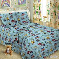 Комплект детского постельного белья  Автогород  в детскую кроватку поплин