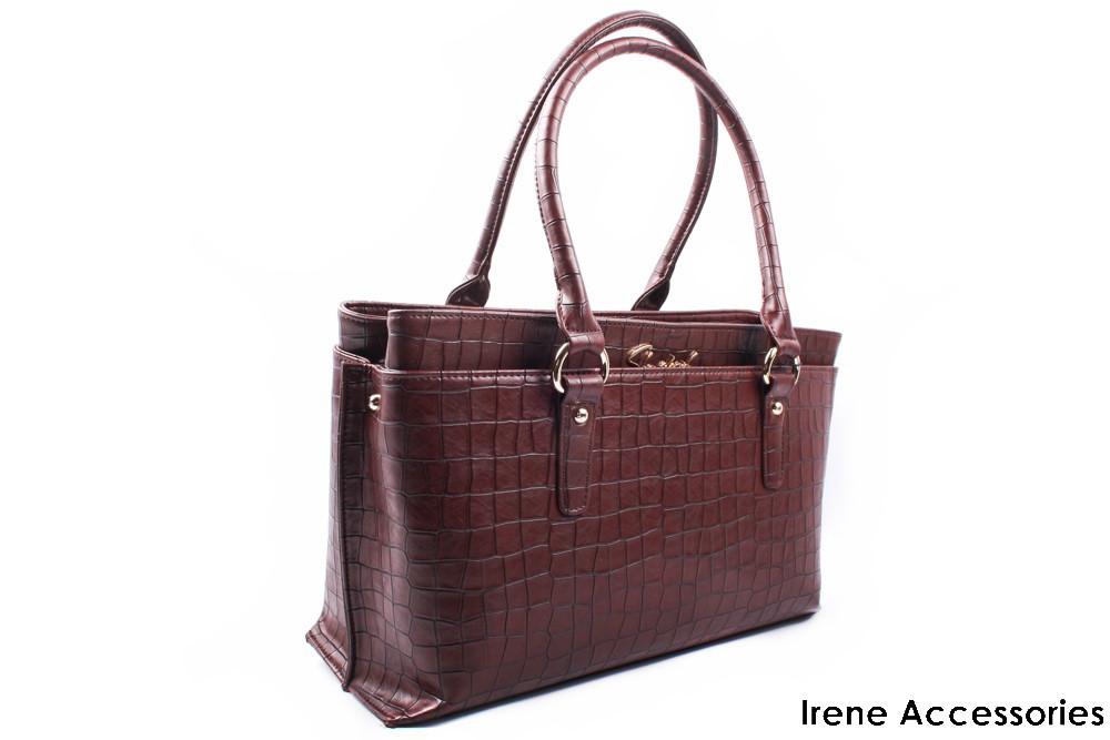 Модельная женская сумочка ShengKasiLu кофейная, эко-кожа