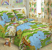 Комплект детского постельного белья   Джунгли в детскую кроватку поплин