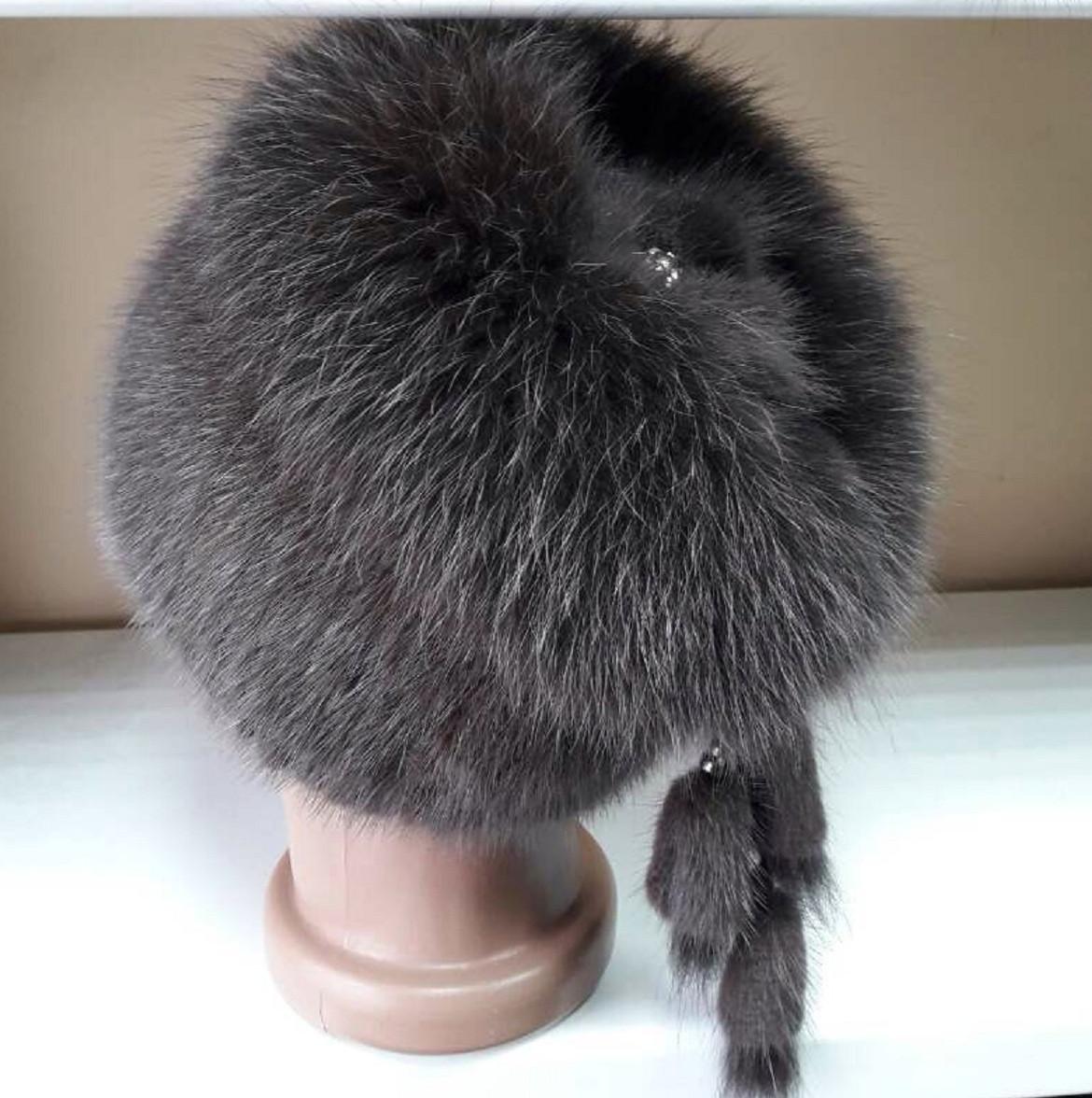 меховая шапка из норки и песца кофейного цвета на вязанной основе