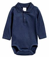 Детское боди для новорожденных с длинным рукавом Organic H&M 50 см,56 см,68 см,80 см