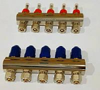 """Коллектор для тёплого пола GROSS 3/4""""х1""""х8 выхода с расходомерами и зональными клапанами"""