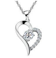 Подвеска Сердце горный хрусталь белое/бижутерия/ цвет серебро