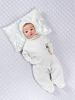 Комплект на выписку новорожденных с ползунками, распашонкой и шапочкой Бусинка