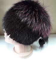 Меховая шапка из норки и чернобурки на вязанной  основе с песцом