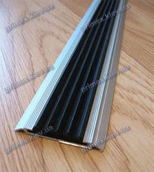 Антискользящая накладка на ступени алюминиевая с резинкой одинарная. Противоскользящая накладка цена