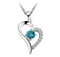 Подвеска Сердце горный хрусталь голубое/бижутерия/ цвет серебро