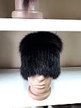 Меховая шапка из норки чёрного цвета на вязанной  основе с песцом, фото 4