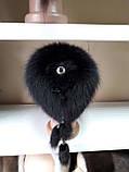 Меховая шапка из норки чёрного цвета на вязанной  основе с песцом, фото 5