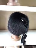 Меховая шапка из норки чёрного цвета на вязанной  основе с песцом, фото 6