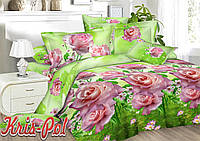"""Комплект постельного белья двуспальный евро """"Дикая роза""""."""