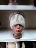 Меховая шапка из норки и песца на вязанной  основе цвет колотый лёд, фото 5
