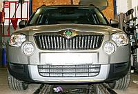 Декоративно-защитная сетка радиатора Skoda Yeti фальшрадиаторная решетка, бампер, фото 1