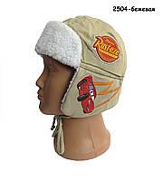 Теплая шапка Тачки Cars Disney для мальчика. 50, 54 см