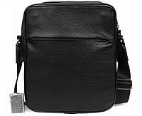 Добротная мужская кожаная сумка-планшетка черная ALVI av-30-3687
