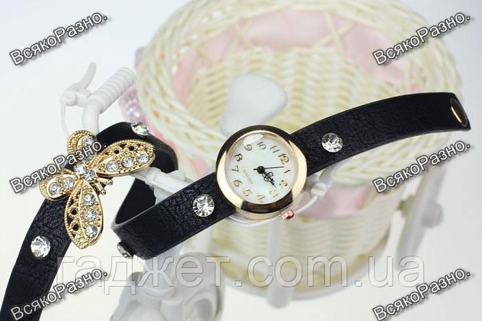 Женские часы браслет с бабочкой в стразах черного цвета.