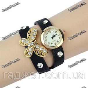Женские часы браслет с бабочкой в стразах черного цвета., фото 2