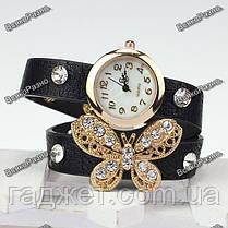 Женские часы браслет с бабочкой в стразах черного цвета., фото 3