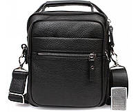 Стильная и практичная мужская кожаная сумка-барсетка черная ALVI AV-40-5150