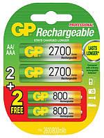 Комплект аккумуляторы GP Ni-Mh AA 2700mAh и AAA 800mAh (270ААHC-U2 R6 / 80AAAHC-U2 R03), 4шт.
