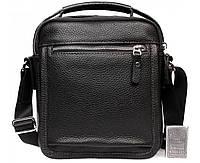 Модная долговечная мужская кожаная сумка-барсетка черная ALVI av-1-0092