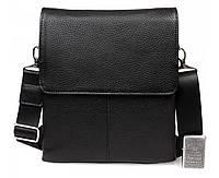 Долговечная кожаная сумка для мужчин черная ALVI av-30-9721
