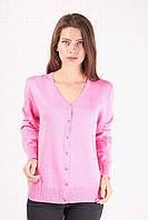 Качественная женская кофта на пуговицах с длинным рукавом, нежно розового цвета