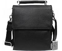 Деловая мужская кожаная сумка-барсетка черная ALVI av-41-8721