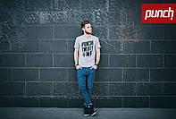 Футболка Punch-   F1, Grey, серая, мужская одежда