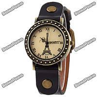 Модные женские часы с изображением Эйфилевой башни и черным ремешком