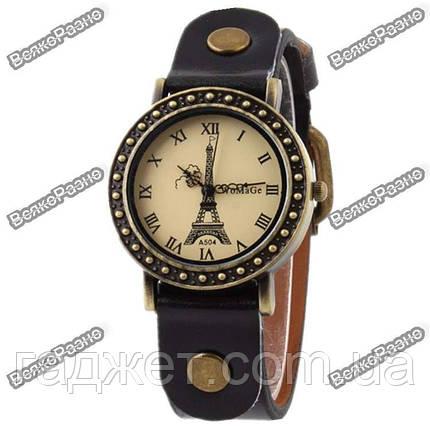 Модные женские часы с изображением Эйфилевой башни и черным ремешком, фото 2
