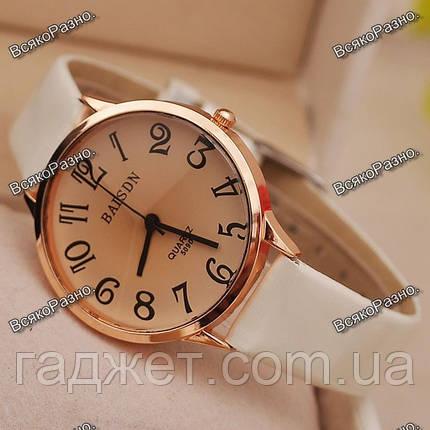 Классические часы Baisdn с белым ремешком., фото 2