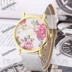 """Часы в стиле Geneva """"Цветочный рай"""" с белым ремешком, фото 2"""
