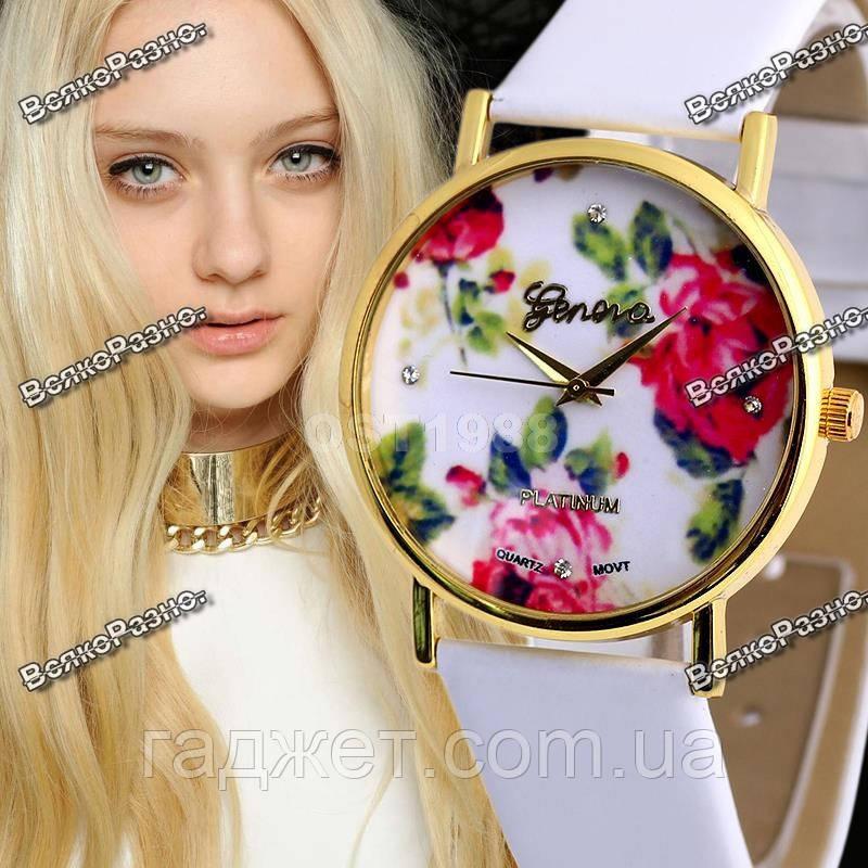 """Часы в стиле Geneva """"Цветочный рай"""" с белым ремешком"""