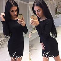 Классическое черное женское платье,материал рибана