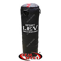 Боксерский мешок Lev 85 см х 26 см, кирза, черный