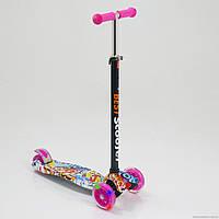 Самокат детский Scooter Maxi Style Cool Draft LP до 70 кг светящиеся колеса