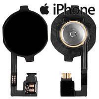 Шлейф для iPhone 4, кнопки меню, полный комплект, черный, оригинал