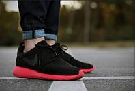 Кроссовки мужские Nike Roshe Run Black с красной подошвой