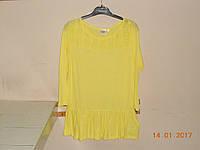 Кофта-туника лимонного цвета с кружевной кокеткой Bonprix