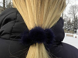 Резинка для волос с натуральным мехом норки. Темно-синий
