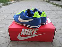 Мужские Кроссовки Nike Cortez голубые замш