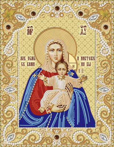Ткань с рисунком для вышивания бисером Леушинская икона Божией Матери Аз есмь с вами, и никтоже на вы РИК-4010