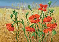 Ткань с рисунком для вышивания бисером Алые цветы полей РКП-615