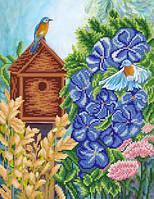 Ткань с рисунком для вышивания бисером Птичьи хлопоты РКП-616