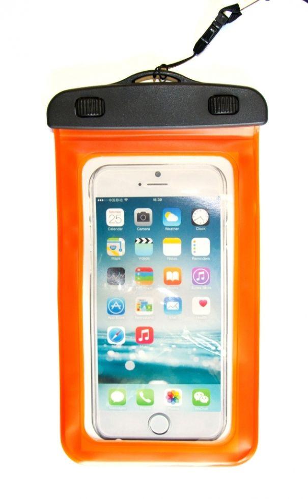 Водонепроницаемый чехол для телефона прозрачный оранжевый 17 см