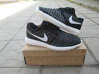 Мужские Кроссовки Nike Roshe Run черные с белым ткань