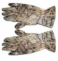 Перчатки маскировочные из сетки камыш.