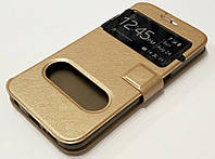 Чехол книжка с окошками для Samsung Galaxy S2 i9100 gold